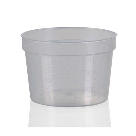 Larges coupelles plastique graduées - 30 ml